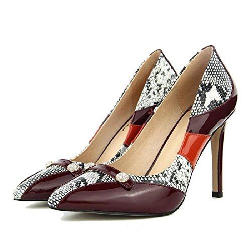 GAOLIM En La Primavera De Zapatos De Mujer Solo Zapatos Zapatos De Mujer Cosiendo El Clip Ranurada La Luz De La Punta De La Boquilla Fina Con Zapatos De Mujer Zapatos De Mujer Granate.