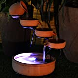 Terra Cotta Cascade Chestnut Orange Ceramic Bowls Solar Water Fountain with Water Pump Battery and LED Light