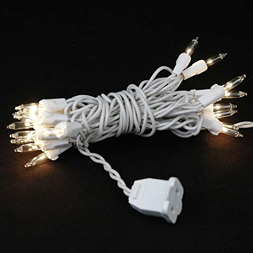 Novelty Lights 20 Light Clear Christmas Craft Mini Light Set, White Wire, 8' Long