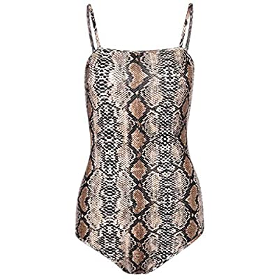Milumia Women's Sexy Spaghetti Strap Snake Skin Print Cami Bodycon Bodysuit Tops at Women's Clothing store