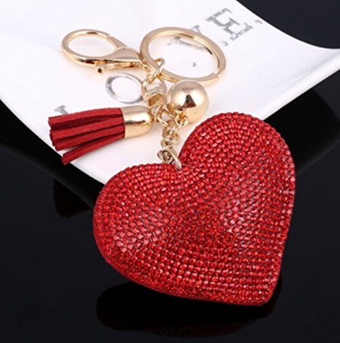 - 1 Pc Mini Pocket Romantic Heart Keychain Keyring Keyfob Crystal Pendant Keys Chains Rings Tags Strap Wrist Super Popular Cute Wristlet Utility Keyrings Tool Teenagers Teen Women Girls Gift, Type-04