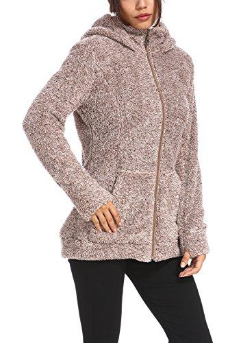 Vieliring Sleeve Cardigan Thick Jacket 22 Faux Open Women's Coat Khaki Front Outwear Long Warm Parka Winter Fur Hooded 8 gH8wgBrq