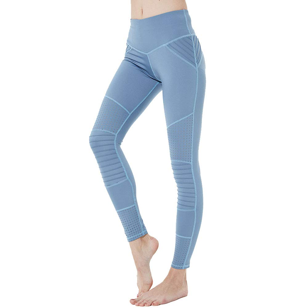 bluee Small Yoga Workout Leggings Pants Running Sports Fitness Trousers Women's Tight Stretch High Waist Breathable Sports Yoga Pants (color   Pink, Size   M)