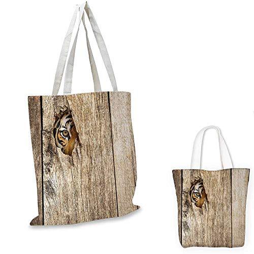 (Safari shopping tote bag Siberian Tiger Eye Looking Through Wooden Peep Hole in Spy Predator Big Cat Wild Print travel shopping bag Tan. 12