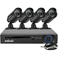 Zclever 4 Channel Security System 1080N AHD DVR Surveillance Security System 4 HD 1200TVLNight Vision Security Cameras No HDD