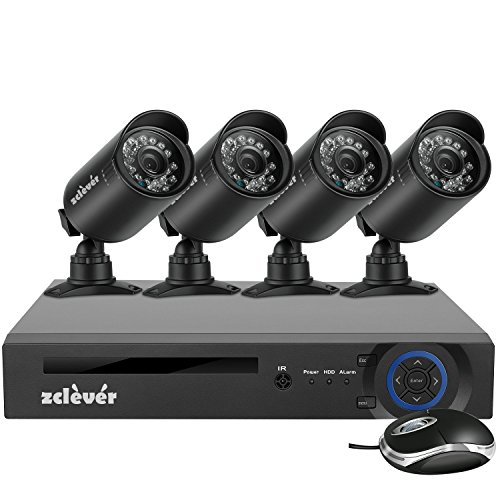 Price comparison product image Zclever 4 Channel Security System 1080N AHD DVR Surveillance Security System 4 HD 1200TVLNight Vision Security Cameras No HDD