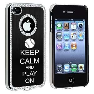 Apple iPhone 4 4S 4G Black S403 Rhinestone Crystal Bling Aluminum Plated Hard Case Cover Keep Calm and Play On Baseball Softball