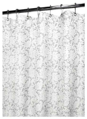 Park B. Smith Victorian Lace Shower Curtain, White/Silver