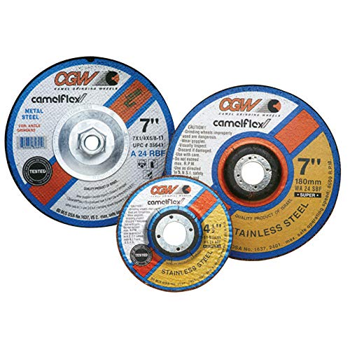 Depressed Center Wheel 1//4 in Thick 6 in Dia 24 Grit Hardness R Type 27 62 Pack