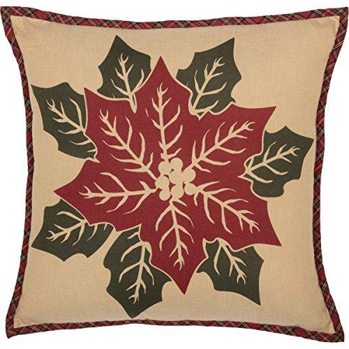 VHC Brands Seasonal Decor National Quilt Museum Poinsettia Block Tan Pillow,