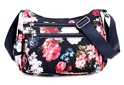 Print Shoulder Bag - Collsants Nylon Crossbody Purse for Women Travel Shoulder Bag Multi Pocket Water Resistant (flower-H)