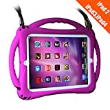 iPad 2 Case For Kids,TopEsct Shockproof Silicone Handle Stand Case Cover&(Tempered Glass Screen Protector) For Apple iPad 2,iPad 3,iPad 4 (Purple)