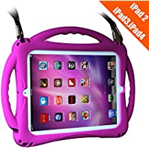 TopEsct iPad 2 Case For Kids, Shockproof Silicone Handle Stand Case Cover&(Tempered Glass Screen Protector) For Apple iPad 2,iPad 3,iPad 4 (Purple)