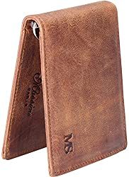 Win&Income Genuine Crazy Horse Leather Spring Money Clip Compact Bifold Front Pocket Wallet,Brown