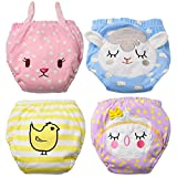 Baby Girl's Training Pants Toddler Training underwear 4 Packs Cute Potty Cloth Diaper Cotton Nappy Underwear for Kids Reusable Potty pants(Bigger than Normal Size, Suggest to Order Down a Size)