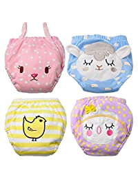 Baby Girl's Training Pants Toddler Training underwear 4 Packs Cute Potty Cloth Diaper Cotton Nappy Underwear for Kids Reusable 3 Layers Potty pants(Bigger Than Normal Size, Suggest to Order Down a Size)