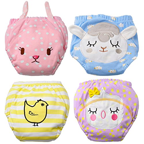 Baby Girl's Training Pants Toddler Training underwear 4 Packs Cute Potty Cloth Diaper Cotton Nappy Underwear for Kids Reusable Potty pants(Bigger than Normal Size, Suggest to Order Down a Size) by MooMoo Baby