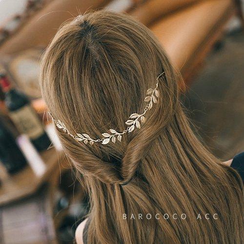 Korea single retro lines leaves forest goddess leaves hair decoration chain gold hairpin side folder children