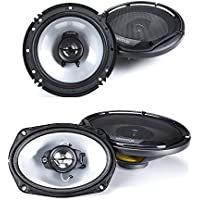 Kenwood KFC-6965S 6 x 9 Inches 3-Way 400W Speakers + Kenwood KFC-1665S 300-Watt 6.5-Inch 2-Way Sport Series Flush Mount Coaxial Speakers with Paper Tweeters