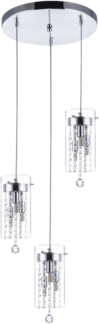 SYDTOP 3-Light Glass Crystal Pendant Light Modern G9 Kitchen Island Lighting Round Base Multi Pendant Fixtures, Chrome Finish