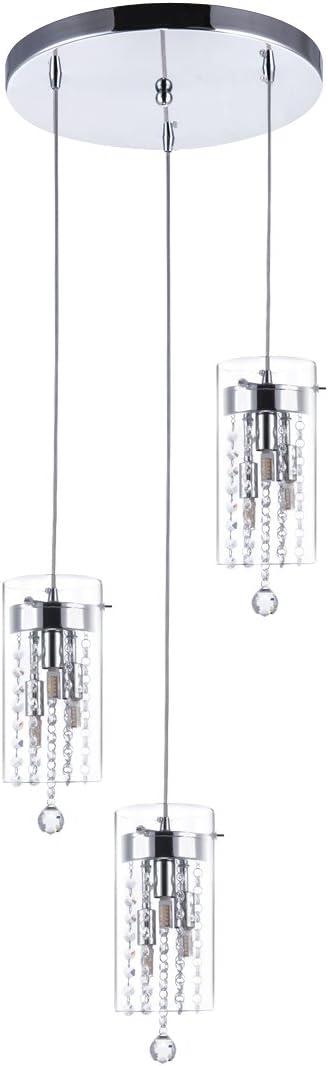 SHENGYADI 3-Light Glass Crystal Pendant Light Modern G9 Kitchen Island Lighting Round Base Multi Pendant Fixtures, Chrome Finish
