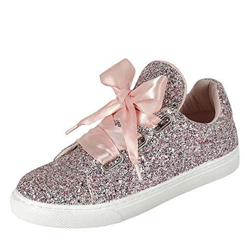 Forever Link Womens Round Toe Ribbon Bow Lace Up Glitter Fitness Gym Trainer Fashion Sneakers 7 Pink - Sparkle Shoes