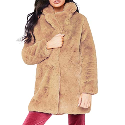 kaifongfu Womens Solid Oversized Long Hooded Fluffy Coat Cardigans Outwear with ()