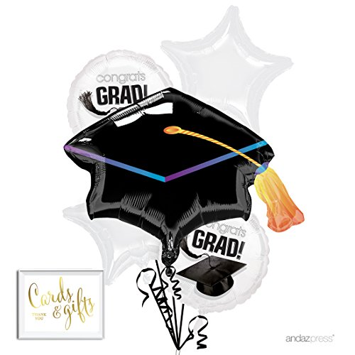 Andaz Press Balloon Bouquet Party Kit with Gold Cards & Gifts Sign, Congrats Grad White Graduation Foil Mylar Balloon Decorations, 1-Set