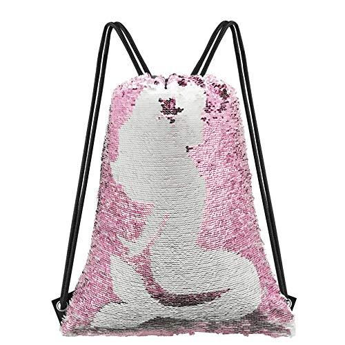 Neasyth Mermaid Sequins Drawstring Backpack, Reversible Glittering Dance Drawstring Bag Yoga Gym Gift For Girls Women kids