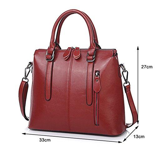 Frauen Echtes Leder Tasche Damenmode Elegante Handtasche Messenger Schultertasche Öl Wachs Ledertasche Red