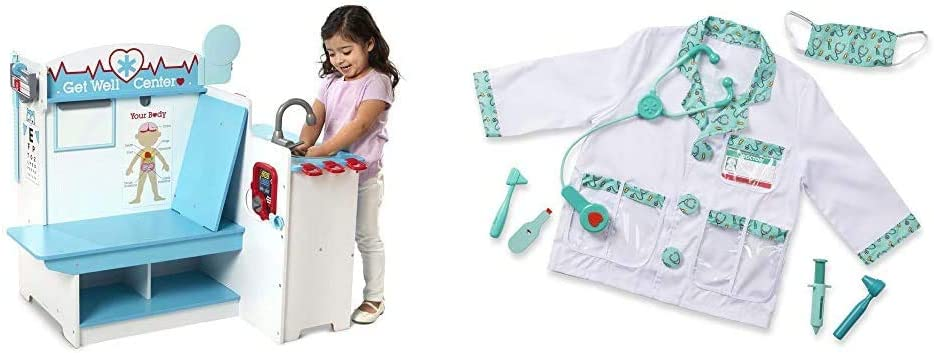 Melissa & Doug Doctor Activity Center & Doctor Role Play Costume Set (Frustration Free Packaging)