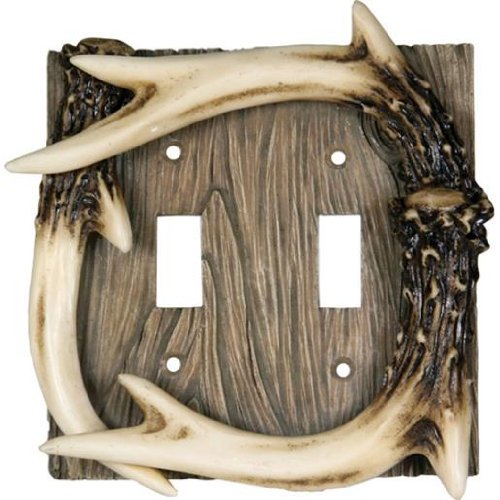 Rivers Edge Antler - Rivers Edge Products Deer Antler Double Switch Electrical Plate CVR