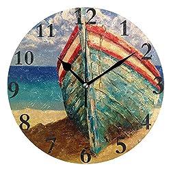 Ladninag Wall Clock Watercolor Boat Silent Non Ticking Decorative Round Digital Clocks for Home/Office/School Clock
