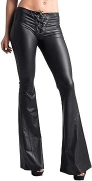 Women's Black Flare Leather Pants High Waist Wide Leg Sequin Flare Leggings Pants KLGDA