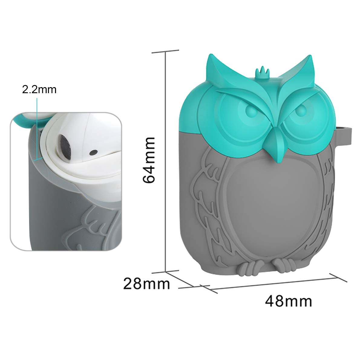 MAS CARNEY Fundas Airpods Silicona Protectora Owl Airpods Case Compatible con Apple Airpods 1 y 2 Originales LED Frontal no Visible