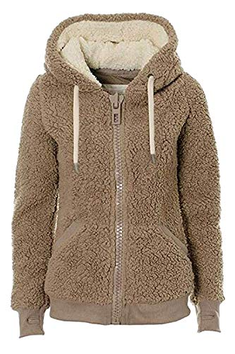 Teddy Teddy XXL Fluffy Cappuccio con con Warm Furry Giacche Dimensione Felpa Capispalla Casual Donna Marrone Colore Winter Marrone da 58Zq5Inw