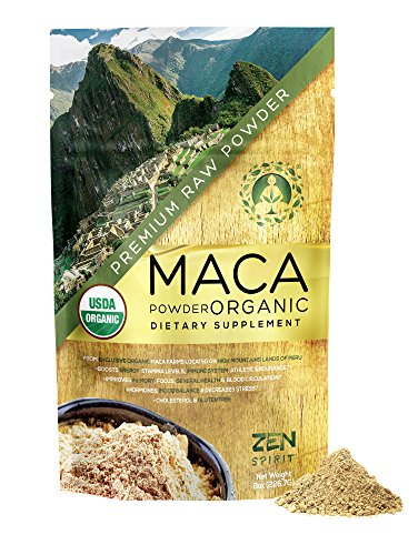 Maca Powder Organic – Peruvian Root Premium Grade Superfood Raw – USDA Vegan Certified – 226.7g 8oz – Perfect for Breakfast, Smoothies, Baking Ice Cream.