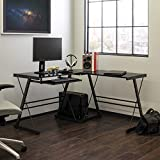 Walker Edison Modern Corner L Shaped Glass Computer Writing Gaming Gamer Command Center Workstation Desk Home Office, 51 Inch, Black