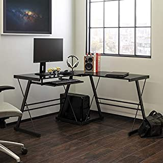 Walker Edison Furniture Company Modern Corner L Shaped Glass Computer Writing Gaming Gamer Command Center Workstation Desk Home Office, 51 Inch, Black (B001FB5LE8) | Amazon price tracker / tracking, Amazon price history charts, Amazon price watches, Amazon price drop alerts