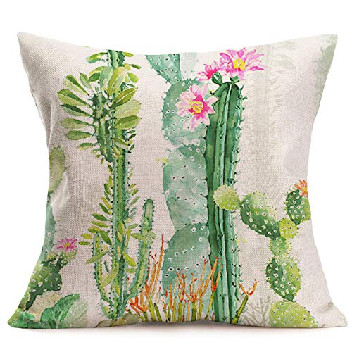 Prairie Velvet Natural Fabric - Smilyard Tropical Plant Pillow Covers Green Succulent Cactus Flower Rustic Pillow Case Summer Style 18x18 Inch Cotton Linen Cushion Cases Home Decorative Cushion Covers for Garden Sofa (OI-07)