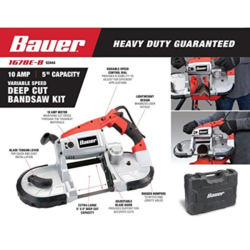 Bauer 10 Amp Deep Cut Variable Speed Band Saw Kit