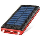 24000mah 大容量 ソーラーチャージャー モバイルバッテリー 携帯充電器 iPhone/Android 各種対応 3USB出力ポート 二個LEDランプ搭載 太陽光で充電でき 一週間の用量が満足できる