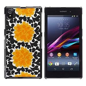 For Sony Xperia Z1 / L39H / C6902 / C6903 / C6906 / C6916 / C6943 Case , Flowers Black Wallpaper Art - Diseño Patrón Teléfono Caso Cubierta Case Bumper Duro Protección Case Cover Funda
