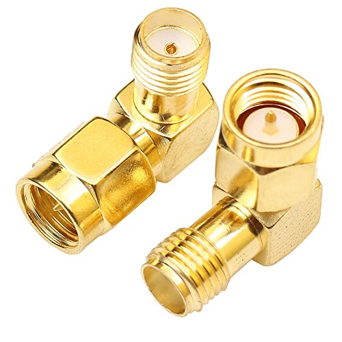 90 degree Right Angle Coax Coaxial SMA Adapter Connector Gold Plated (2 Pack) -