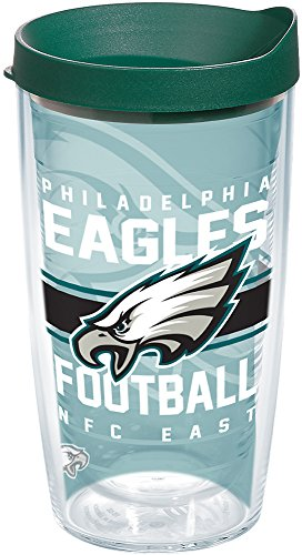 Tervis 1180521 NFL Philadelphia Eagles Gridiron Tumbler with Wrap and Hunter Green Lid 16oz, Clear