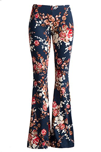 [Fashionomics Womens BOHO COMFY STRETCHY BELL BOTTOM FLARE PANTS (S, BH39NAVY)] (Hippie Outfits Ideas)