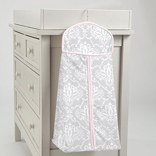 Carousel Designs Pink and Gray Damask Diaper Stacker by Carousel Designs