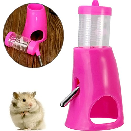2 in 1 Automatic Animal Nest Toy Hamster Drinking Water Bottle With Base holder Hut and metal straw - Hut Metal
