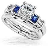Round Moissanite Bridal Set with Sapphire and Diamond 1 1/2 CTW 14k White Gold
