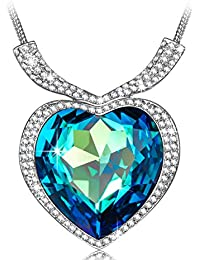 """""""Heart of Ocean White Gold Plated Necklace Love Heart Necklaces for Women, Fashion Jewelry for Her - Perfect for Festive Occasions!"""